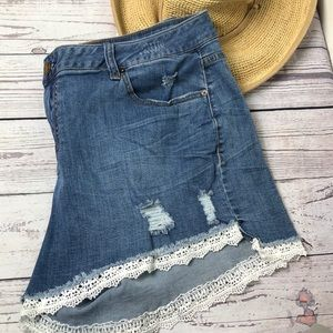 Lane Bryant lace edged girlfriend shorts